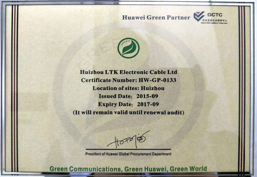 Huawei Green Partner Certificate - Huizhou LTK Electronic Cable Ltd